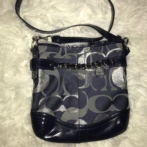 Coach Optic Metallic Signature Chain  Blue Bag